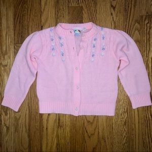 Pink Unique Embroidered Button Cardigan Sweater